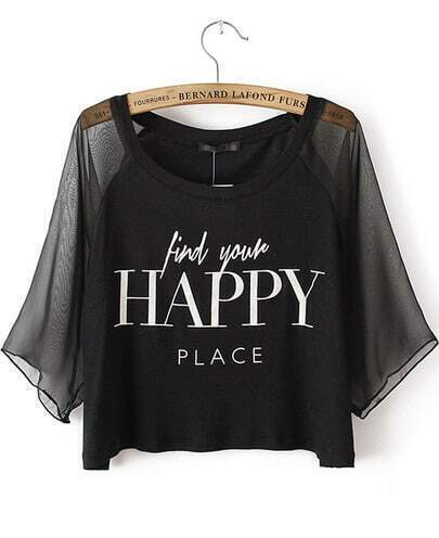 Black Contrast Mesh Yoke HAPPY Print Crop T-Shirt