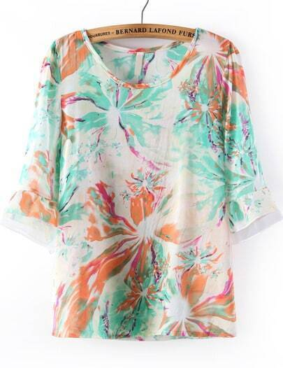 Green Long Sleeve Floral Two Pieces Chiffon Blouse