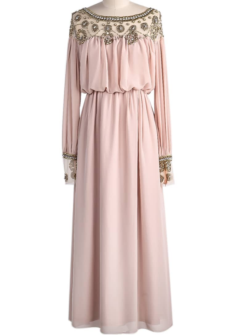 Apricot Long Sleeve Bead Pleated Chiffon Dress $54.33 AT vintagedancer.com
