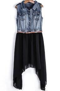 Blue Sleeveless Denim Contrast Black Chiffon Dress