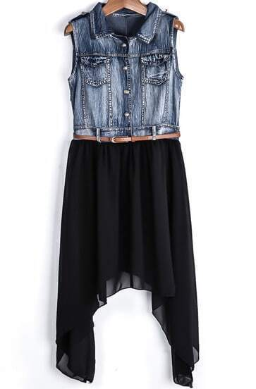 Blue Sleeveless Denim Contrast Black Chiffon Dress