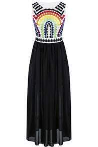 Black Sleeveless Embroidered Pleated Chiffon Dress