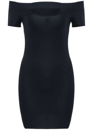 Black Off the Shoulder Elastic Bodycon Dress