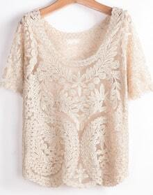 Apricot Short Sleeve Hollow Embroidered T-Shirt