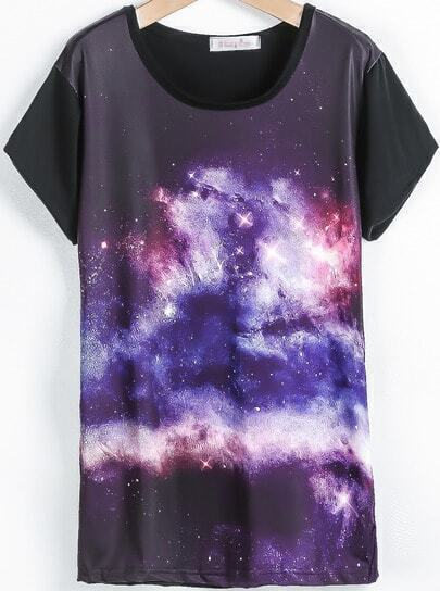 Black Short Sleeve Galaxy Print T-Shirt