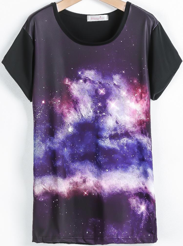 Black short sleeve galaxy print t shirt shein sheinside for Galaxy white t shirts wholesale