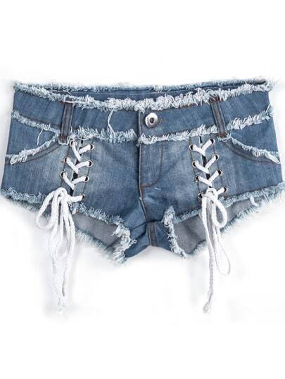 Blue Fringe Lacy Denim Shorts