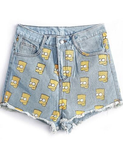 Blue Fringe Simpson Print Denim Shorts