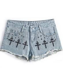 Blue Fringe Cross Print Rivet Denim Shorts