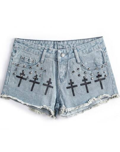 Blue Fringe Cross Print Rivet Denim Shorts