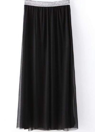 Black Sheer Mesh Yoke Pleated Skirt