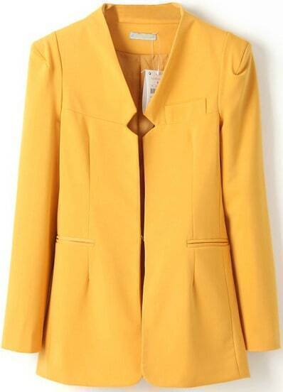 Yellow Shoulder Pads Long Sleeve Fitted Blazer
