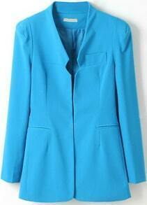 Blue Shoulder Pads Long Sleeve Fitted Blazer