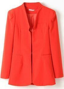 Orange Shoulder Pads Long Sleeve Fitted Blazer