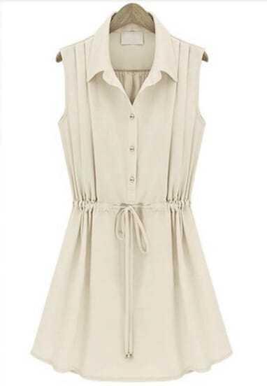 Apricot Sleeveless Drawstring Pleated Chiffon Dress