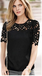 Black Short Sleeve Hollow Lace Blouse