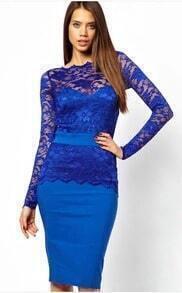 Blue Long Sleeve Hollow Lace Sheath Dress