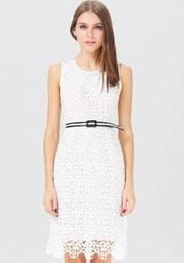 White Sleeveless Hollow Lace Belt Sheath Dress
