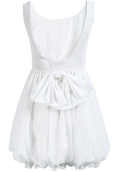 White Sleeveless Backless Bow Pleated Flare Dress
