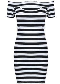Black White Striped Off the Shoulder Bodycon Dress