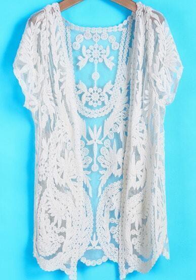 Apricot Short Sleeve Hollow Floral Crochet Lace Blouse