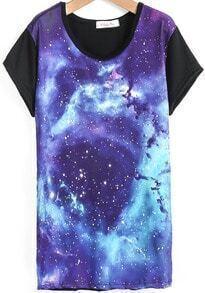 Black Short Sleeve Purple Galaxy Print T-Shirt
