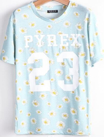 Light Blue Short Sleeve Daisy 23 Print T-Shirt