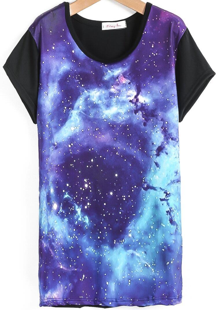 black short sleeve purple galaxy print t shirt shein