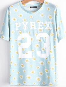 Light Blue Short Sleeve Daisy 23 Print T-Shirt