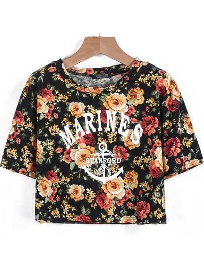 Black Short Sleeve Floral Letters Print Crop T-Shirt