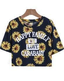 Navy Short Sleeve Sunflowers Letters Print T-Shirt