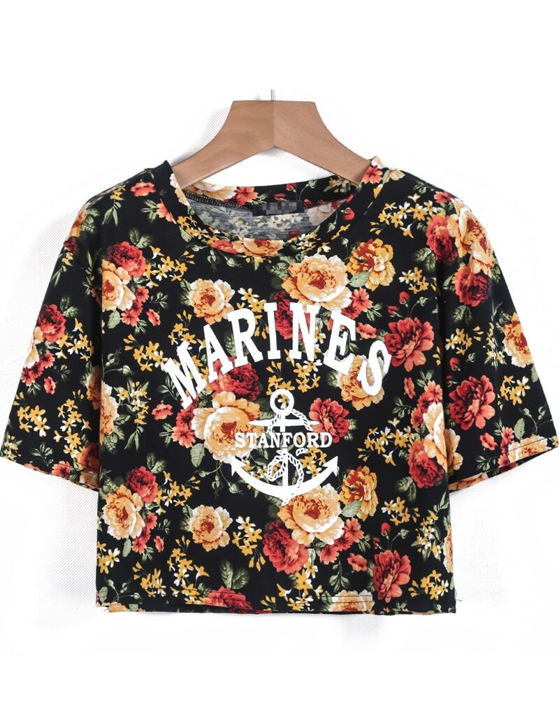 Black short sleeve floral letters print crop t shirt for Black floral print shirt