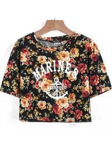 Black Short Sleeve Floral Letters Print Crop T-Shirt