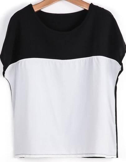 Camiseta gasa contraste blanco manga corta-negro