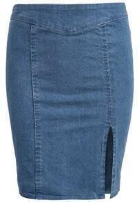 Blue Split Bodycon Denim Skirt