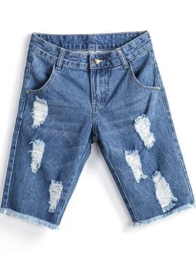 Blue Ripped Fringe Denim Pant