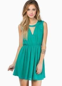 Green Round Neck Sleeveless Hollow Pleated Dress