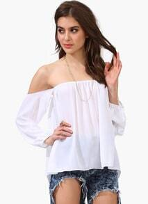 White Off the Shoulder Strapless Loose Blouse