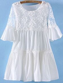 White Short Sleeve Embroidered Hollow Pleated Dress
