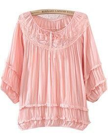 Pink Half Sleeve Lacy Hollow Pleated Blouse