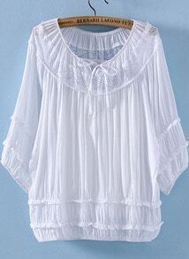 White Half Sleeve Lacy Hollow Pleated Blouse