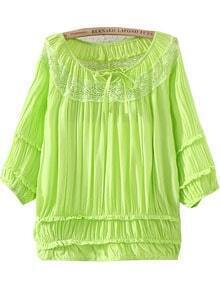 Green Half Sleeve Lacy Hollow Pleated Blouse