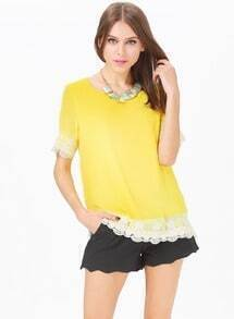 Yellow Short Sleeve Lace Embroidery Belt Top