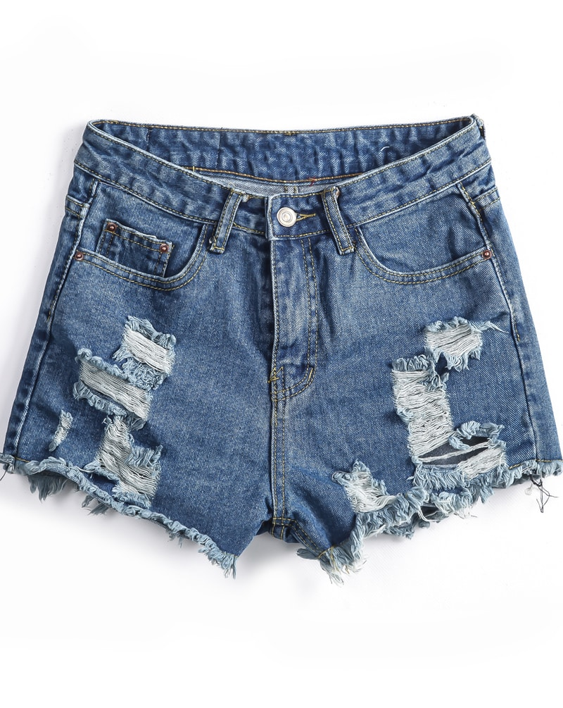 Blue Pockets Ripped Fringe Denim Shorts -SheIn(Sheinside)