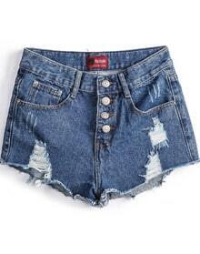 Blue Buttons Ripped Denim Shorts