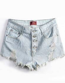 Light Blue Ripped Buttons Denim Shorts