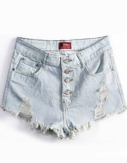 Light Blue Ripped Buttons Denim Shorts