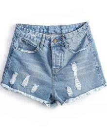 Blue Fringe Ripped Denim Shorts