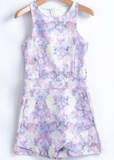 Purple Sleeveless Floral Slim Jumpsuit