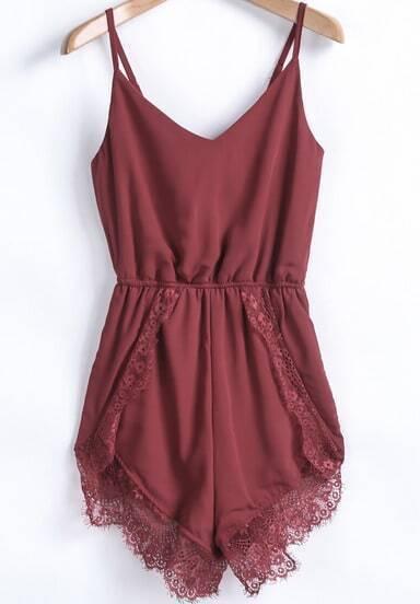 Red Spaghetti Strap Lace Chiffon Jumpsuit